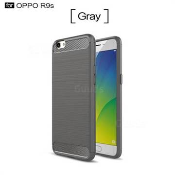 Luxury Carbon Fiber Brushed Wire Drawing Silicone TPU Back Cover for Oppo R9s (Gray)