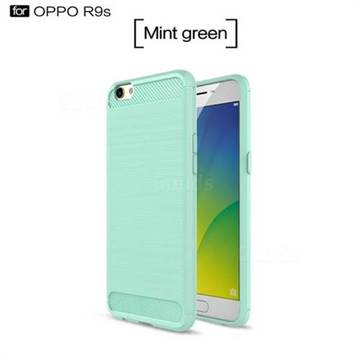 Luxury Carbon Fiber Brushed Wire Drawing Silicone TPU Back Cover for Oppo R9s (Mint Green)