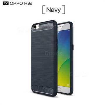 Luxury Carbon Fiber Brushed Wire Drawing Silicone TPU Back Cover for Oppo R9s (Navy)