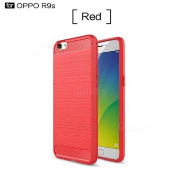 Luxury Carbon Fiber Brushed Wire Drawing Silicone TPU Back Cover for Oppo R9s (Red)