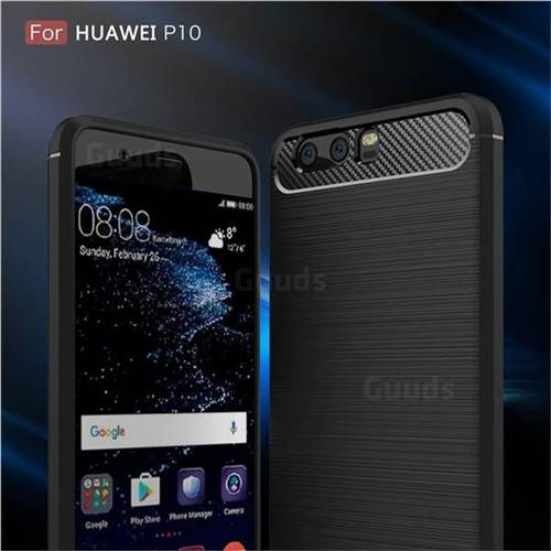 Luxury Carbon Fiber Brushed Wire Drawing Silicone TPU Back Cover for Huawei P10 (Black)