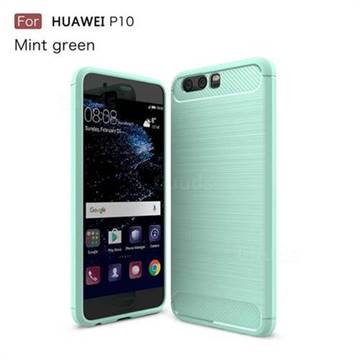 Luxury Carbon Fiber Brushed Wire Drawing Silicone TPU Back Cover for Huawei P10 (Mint Green)