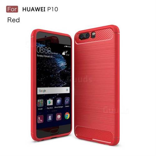Luxury Carbon Fiber Brushed Wire Drawing Silicone TPU Back Cover for Huawei P10 (Red)