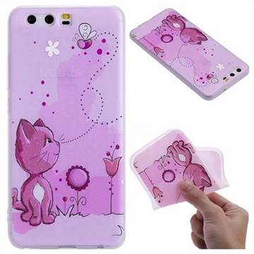 Cat and Bee 3D Relief Matte Soft TPU Back Cover for Huawei P10