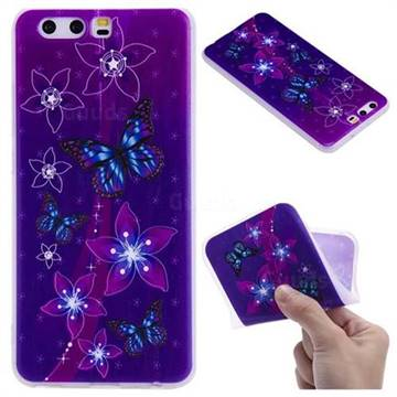 Butterfly Flowers 3D Relief Matte Soft TPU Back Cover for Huawei P10