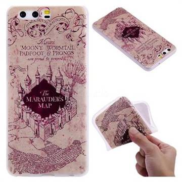 Castle The Marauders Map 3D Relief Matte Soft TPU Back Cover for Huawei P10