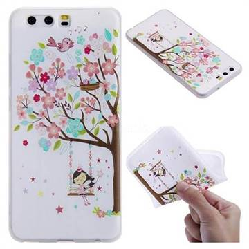 Tree and Girl 3D Relief Matte Soft TPU Back Cover for Huawei P10