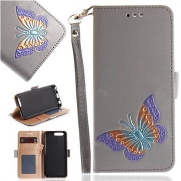 Imprint Embossing Butterfly Leather Wallet Case for Huawei P10 - Grey