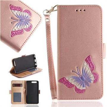 Imprint Embossing Butterfly Leather Wallet Case for Huawei P10 - Rose Gold