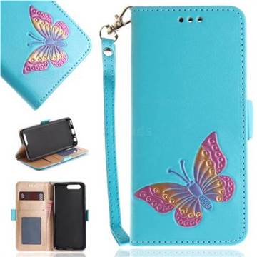 Imprint Embossing Butterfly Leather Wallet Case for Huawei P10 - Sky Blue