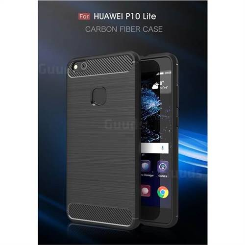 Luxury Carbon Fiber Brushed Wire Drawing Silicone TPU Back Cover for Huawei P10 Lite P10Lite (Black)