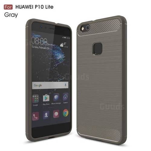 Luxury Carbon Fiber Brushed Wire Drawing Silicone TPU Back Cover for Huawei P10 Lite P10Lite (Gray)
