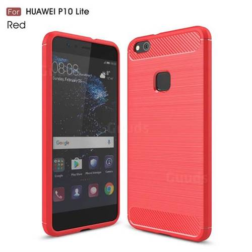 Luxury Carbon Fiber Brushed Wire Drawing Silicone TPU Back Cover for Huawei P10 Lite P10Lite (Red)