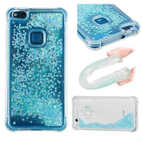 Dynamic Liquid Glitter Sand Quicksand TPU Case for Huawei P10 Lite P10Lite - Silver Blue Star