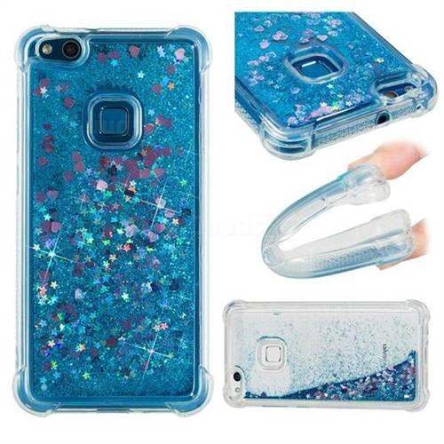 Dynamic Liquid Glitter Sand Quicksand TPU Case for Huawei P10 Lite P10Lite - Blue Love Heart
