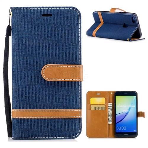 Jeans Cowboy Denim Leather Wallet Case for Huawei P10 Lite P10Lite - Dark Blue