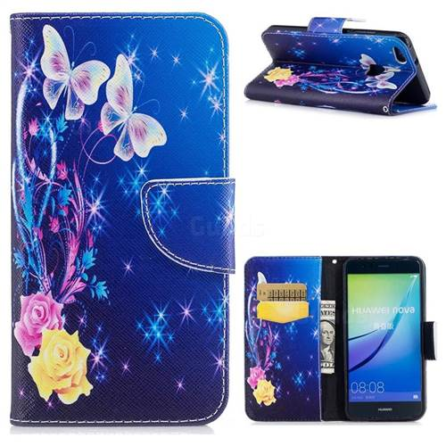 Golden Butterflies Leather Wallet Case for Huawei P10 Lite P10Lite