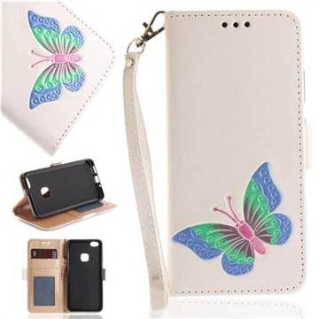 Imprint Embossing Butterfly Leather Wallet Case for Huawei P10 Lite P10Lite - White