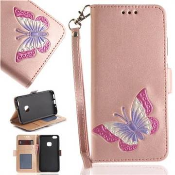 Imprint Embossing Butterfly Leather Wallet Case for Huawei P10 Lite P10Lite - Rose Gold