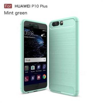 Luxury Carbon Fiber Brushed Wire Drawing Silicone TPU Back Cover for Huawei P10 Plus (Mint Green)