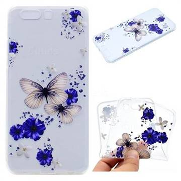 Blue Butterfly Flowers Super Clear Soft TPU Back Cover for Huawei P10 Plus