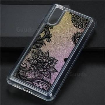 Diagonal Lace Glassy Glitter Quicksand Dynamic Liquid Soft Phone Case for Huawei P20