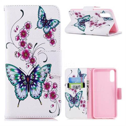 Peach Butterfly Leather Wallet Case for Huawei P20