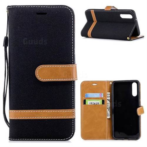 Jeans Cowboy Denim Leather Wallet Case for Huawei P20 - Black