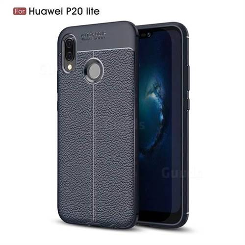 Luxury Auto Focus Litchi Texture Silicone TPU Back Cover for Huawei P20 Lite - Dark Blue