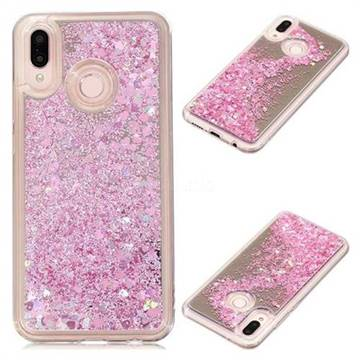 Glitter Sand Mirror Quicksand Dynamic Liquid Star TPU Case for Huawei P20 Lite - Cherry Pink