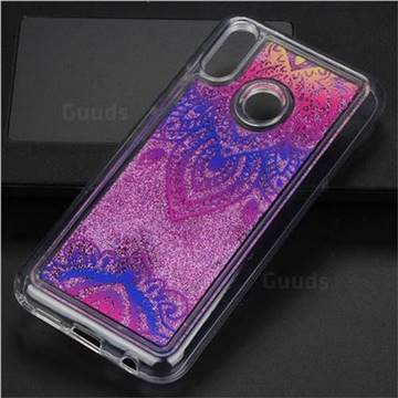 Blue and White Glassy Glitter Quicksand Dynamic Liquid Soft Phone Case for Huawei P20 Lite
