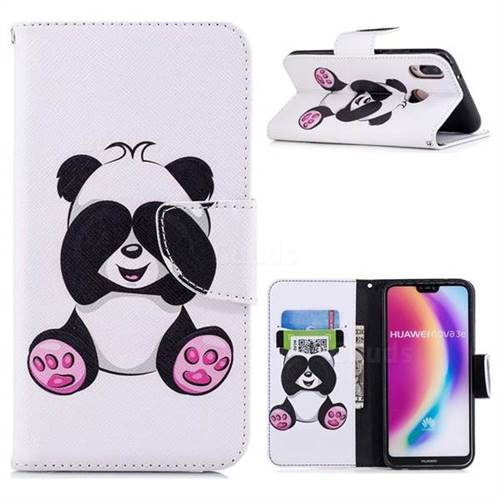 Lovely Panda Leather Wallet Case for Huawei P20 Lite