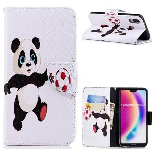 Football Panda Leather Wallet Case for Huawei P20 Lite