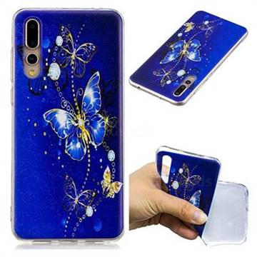 Gold and Blue Butterfly Super Clear Soft TPU Back Cover for Huawei P20 Pro