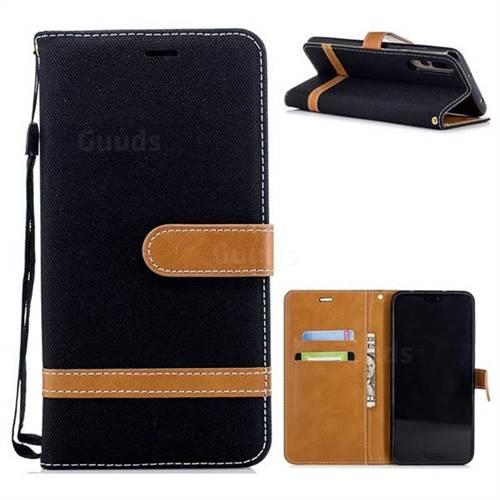 Jeans Cowboy Denim Leather Wallet Case for Huawei P20 Pro - Black