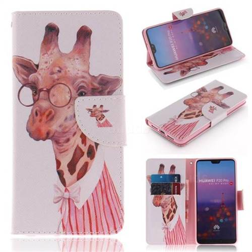 Pink Giraffe PU Leather Wallet Case for Huawei P20 Pro