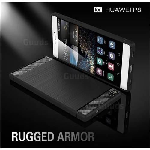 Luxury Carbon Fiber Brushed Wire Drawing Silicone TPU Back Cover for Huawei P8 (Black)