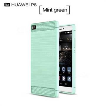 Luxury Carbon Fiber Brushed Wire Drawing Silicone TPU Back Cover for Huawei P8 (Mint Green)