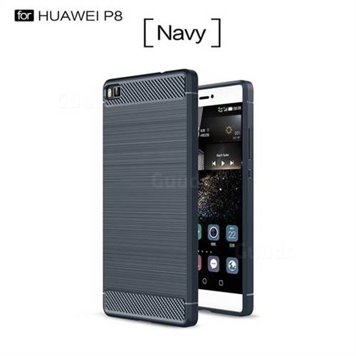 Luxury Carbon Fiber Brushed Wire Drawing Silicone TPU Back Cover for Huawei P8 (Navy)