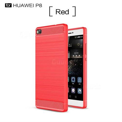 Luxury Carbon Fiber Brushed Wire Drawing Silicone TPU Back Cover for Huawei P8 (Red)