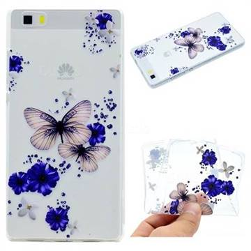 Blue Butterfly Flowers Super Clear Soft TPU Back Cover for Huawei P8 Lite P8lite