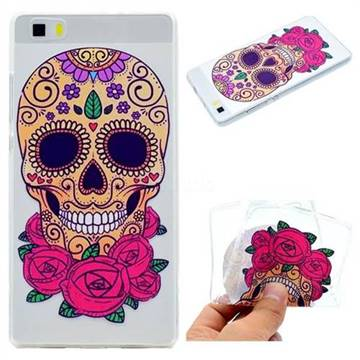 Skeleton Flower Super Clear Soft TPU Back Cover for Huawei P8 Lite P8lite