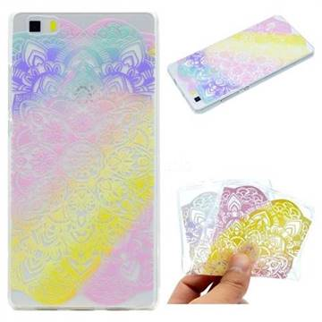 Mandala Rainbow Flower Super Clear Soft TPU Back Cover for Huawei P8 Lite P8lite