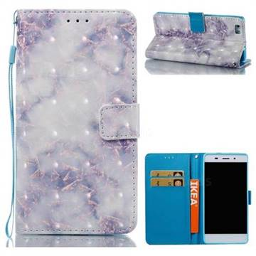 Green Gray Marble 3D Painted Leather Wallet Case for Huawei P8 Lite P8lite