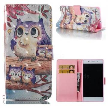 Purple Owl 3D Painted Leather Wallet Case for Huawei P8 Lite P8lite