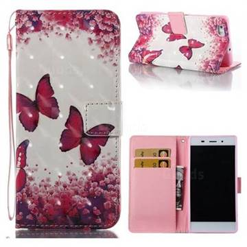 Rose Butterfly 3D Painted Leather Wallet Case for Huawei P8 Lite P8lite