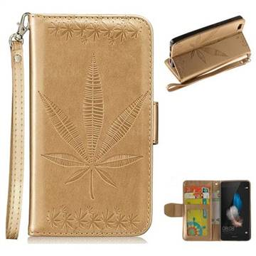 Intricate Embossing Maple Leather Wallet Case for Huawei P8 Lite P8lite - Champagne