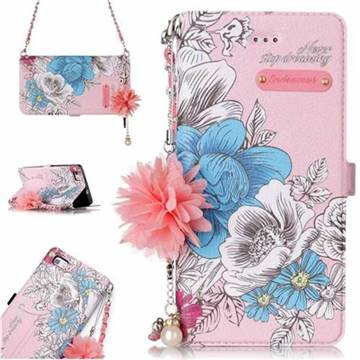 Pink Blue Rose Endeavour Florid Pearl Flower Pendant Metal Strap PU Leather Wallet Case for Huawei P8 Lite P8lite