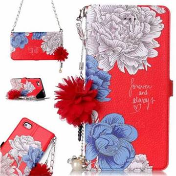 Red Chrysanthemum Endeavour Florid Pearl Flower Pendant Metal Strap PU Leather Wallet Case for Huawei P8 Lite P8lite