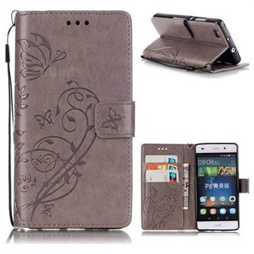 Embossing Butterfly Flower Leather Wallet Case for Huawei P8 Lite P8lite - Grey